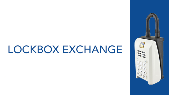 A SentriLock Lockbox Over a Vertical Blue Rectangle on a White Background with 'Lockbox Exchange' in the Negative Space