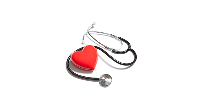 Medical Stethoscope with Red Heart on White Background